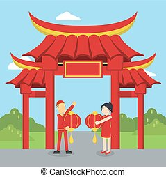 chinese man and chinese woman happy infront of chinese gate