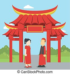 chinese man and women standing infront of chinese gate