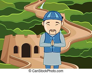 Chinese Man at Old Castle Vector