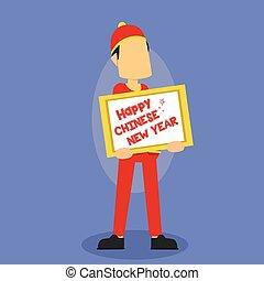 chinese man holding happy chinese new year