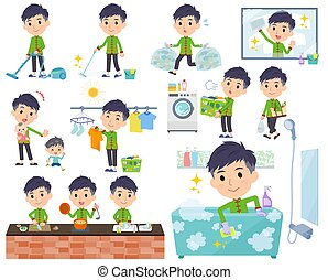 A set of Chinese men related to housekeeping such as cleaning and laundry. There are various actions such as cooking and child rearing. It's vector art so it's easy to edit.