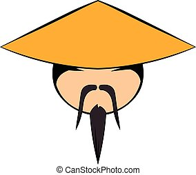 Chinese man icon cartoon - Chinese man icon in cartoon style...