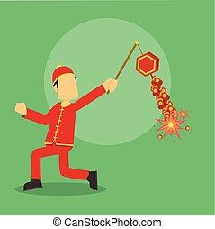 chinese man running playing firecracker