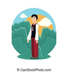 chinese man with traditional costume in landscape