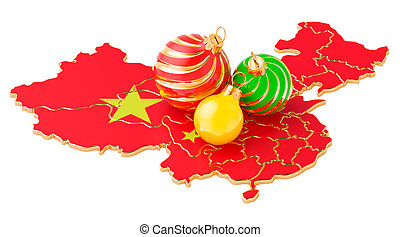 Chinese map with colored Christmas balls. New Year and Christmas holidays concept, 3D rendering