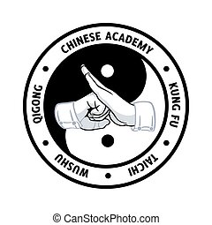 Chinese martial academy symbol (tai chi greeting over...