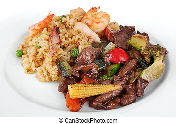 Chinese meal - A meal of beef and black bean sauce served...