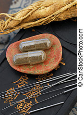 Chinese Medicine - Herbal capsule, Ginseng root, and...