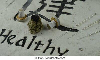 Chinese medicine, moxibustion - Chinese medicine, burning...
