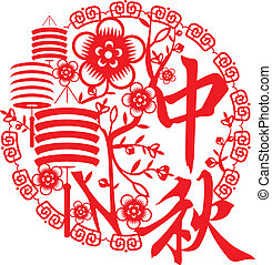 Chinese Mid Autumn festival concept illustration, with paper lanterns and blossom in Red. Two Chinese characters mean Mid autumn festival Chinese Fairy flying to the moon for celebrate the mid autumn festival
