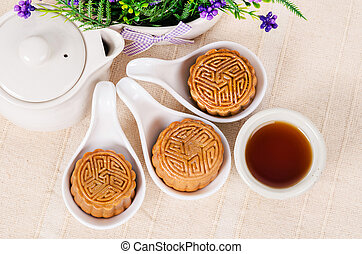 Chinese mid autumn festival foods.
