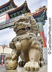 Chinese Mmale Foo Dog Guardian at Chinatown Gate
