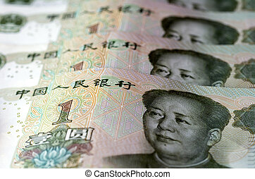 Chinese money and currency - Renminbi, one Yuan bills -...