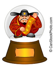 Chinese Money God in Water Snow Globe