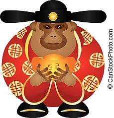 Chinese Money God Monkey with Gold Bars Color Illustration -...
