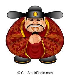 Chinese Money God Wishing Happy New Year