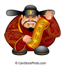 Chinese Prosperity Money God Holding Scroll with Text Wishing Happiness and Wealth Illustration Isolated on White Background