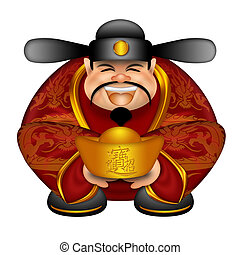 Chinese Money God With Gold Bars