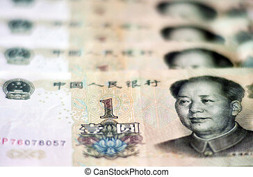 Chinese Money - One Chinese Yuan Bills isolated on white.
