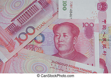 Chinese Money. One hundred Banknotes of the Yuan - Renminbi.