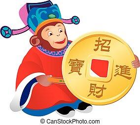 Chinese monkey god of prosperity design illustration, holding the golden coin