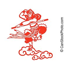 Chinese Monkey king Sun Wukong paper-cut
