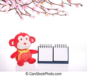 chinese monkey toy  with blank calendar