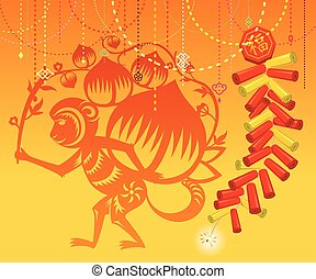 Chinese Monkey with Firecrackers ba