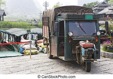 Chinese Motorised Three Wheel Transport - Image of a Chinese...