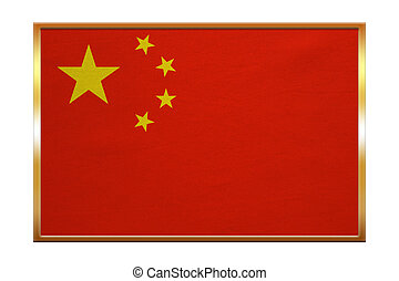 Flag of China , golden frame, fabric texture