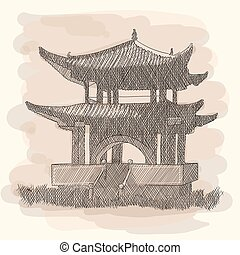 Chinese national building pagoda. Vector drawing Isolated on a white background.