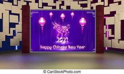 Happy Chinese New Year 2021 text with Purple and Golden colour shining bokeh in window with motion background for TV program with Chinese New Year 2021 theme. Seamless loopable HD video.