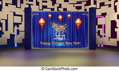 Happy Chinese New Year 2021 text with Blue and Golden colour shining bokeh in window with motion background for TV program with Chinese New Year 2021 theme. Seamless loopable HD video.