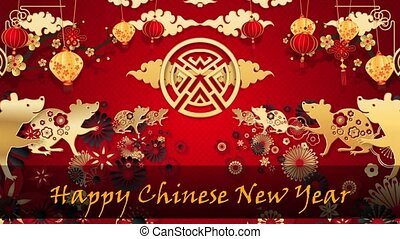 Happy Chinese New Year 2021 text with Red and Golden colour with motion background for TV program with Chinese New Year 2021 theme. Seamless loopable HD video.