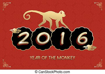Chinese New Year 2016 monkey gold red card - 2016 Happy...