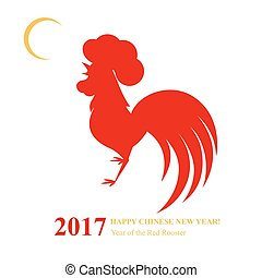 Chinese New Year 2017. Red rooster. Lunar calendar.