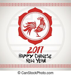 chinese new year 2017 with rooster red frame