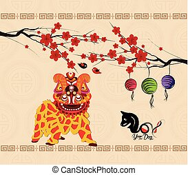 Chinese new year 2018 background lion dance