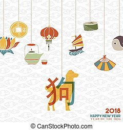 Chinese new year 2018 dog decoration greeting card