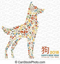 Chinese new year 2018 dog icon greeting card - Happy Chinese...