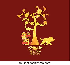 Chinese New Year 2018, Dog with golden geometrical