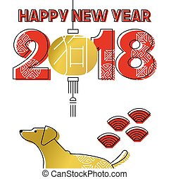 Chinese new year 2018 gold line art dog greeting card