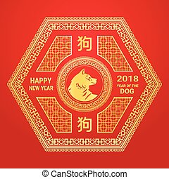 Chinese New Year 2018 Of Dog Poster Golden Calligraphy And Frames On Red Background
