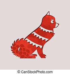 Chinese new year 2018 paper cut red dog