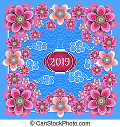 Chinese New Year 2019. Chinese lantern, Chinese clouds, plum and peach flowers. Frame, blue background with pattern.