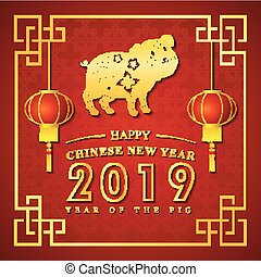 Chinese new year 2019 with golden pig and text in frame