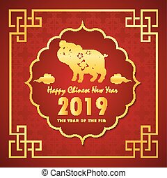 Chinese new year 2019 with golden pig in beautiful frame