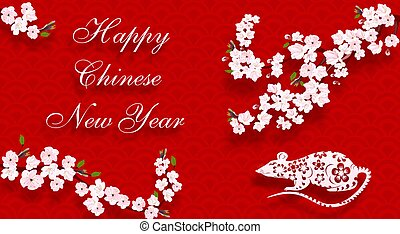 Chinese New Year 2020. Blooming cherry, rat and the inscription on a red background with shadow. illustration