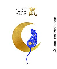 Chinese new year 2020 blue rat on gold moon card