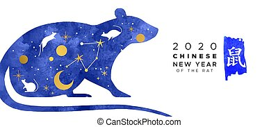Chinese new year 2020 blue watercolor rat banner - Chinese ...